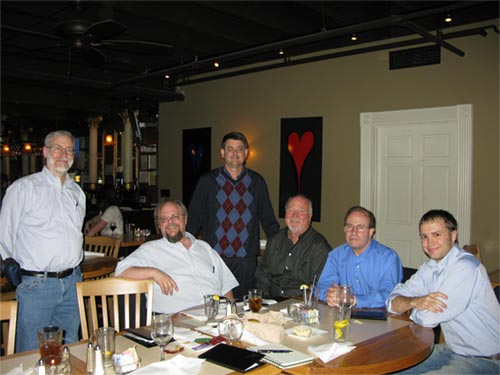 L to R: Gary Adams, daVinci Systems, co designer of the Time Logic controller for telecine,  Ted Langdell, flashscan8.us, Cliff Hasenbalg, Moving Image, LLC, Colorist Bob Campbell, Pat Shevlin, Dir. of Engineering, The Media Preserve, Jon-Erik Gilot, Sales, The Media Preserve/Preservation Technologies. Photo: Linda Adams