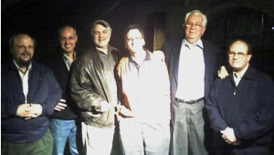 L to R: Ted Langdell, flashscan8.us, Co-worker of Maurice Schecter, DuArt, New York, Myron Lenenski, Owner, CinePost, Atlanta,  Maurice Schecter, Chief Engineer, DuArt, New York, Jim Wheeler, retired Ampex engineer/current consultant, Pat Shevlin, Dir. of Engineering, The Media Preserve Photo: Bystander w/Ted's cell phone