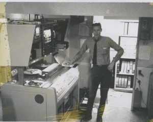 Al Sturm at Visual Elevtronics, Sunnyvale, CA, (Circa 1968), testing a Visual/Allen  VA-1000.